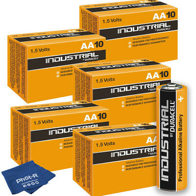 50 Duracell Industrial AA Alkaline Batteries Procell MN1500 1.5V LR6 Microfibre