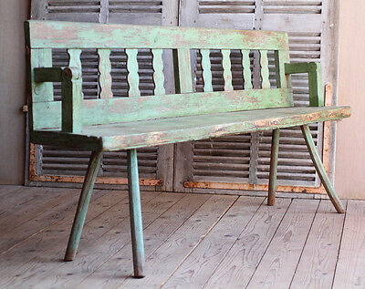 Vintage Antique Folky Wooden Hungarian Bench