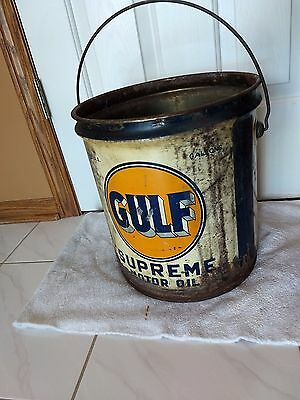 Vtg 5 Gallon Gulf Supreme Motor Oil Can W/handle