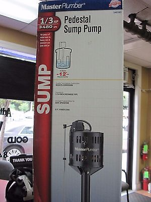 NEW!!  Master Plumber 1/3 HP, Thermoplastic, Automatic Pedestal Sump Pump 540163