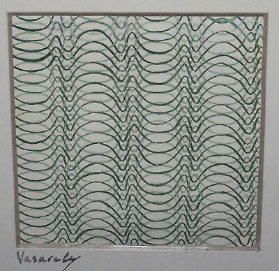Hungarian Op Art, Vintage abstract gouache painting, signed Vasarely
