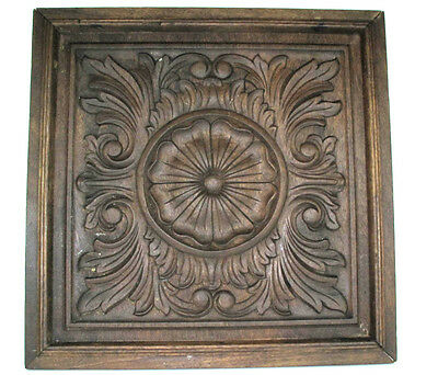 Antique Church Hand Carved Wooden Oak Panel