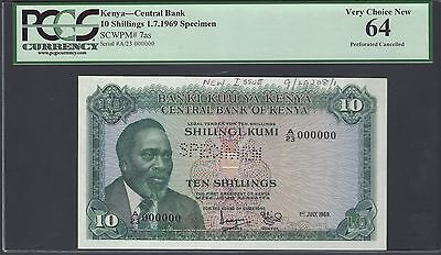 Kenya 10 Shillings 1-7-1969 P7as Specimen Perforated Uncirculated