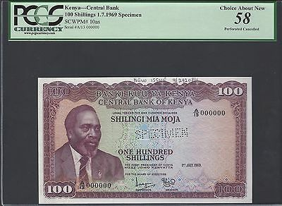 Kenya 100 Shillings 1-7-1969 P10as Specimen Perforated About Uncirculated