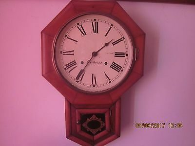 "Antique American Oak Cased Drop Dial Wall Clock By ""ansonia"""