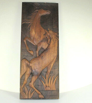 Antique Hand Carved Hard Wood Panel