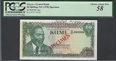 Kenya 10 Shillings ND(1978) P16s Specimen About Uncirculated