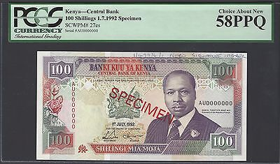 Kenya 100 Shillings 1-7-1992 P27es Specimen About Uncirculated