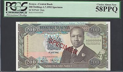 Kenya 200 Shillings 1-7-1992 P29ds Specimen About Uncirculated