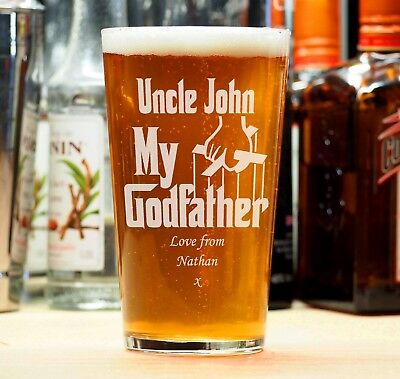 Personalised Engraved Beer Pint Glass The Godfather Christening Birthday Gift