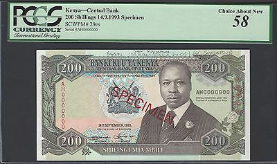 Kenya 200 Shillings 14-9-1993 P29es Specimen About Uncirculated