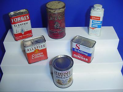 Lot Of 6 Vintage Spice Tins Cans Household Advertising Most Empty Forbes Calume