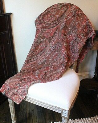 Beautiful French 19thc(1860) Woven Partial Paisley Shawl Textile Fabric