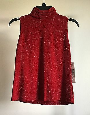 NEW Jeffrey & Dara Evenings Red Sparkly Formal Blouse size 8 original $68 USA