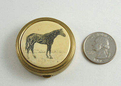 """A VINTAGE 1950's """"PILL STASH TIN"""" WITH A QUARTER HORSE ON LID MADE IN THE U.S.A."""