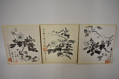 Vintage Japanese Ink Wash Paintings Sumi-e Bird (Lot of 3) Artist's Marking