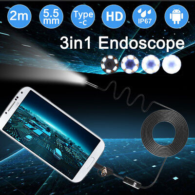 3 in 1 3M-10M 6LED 5.5-8mm PC Android TYPE-C Endoscope Hard Inspection Camera HD