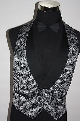 Gray Paisley Adult M Med Open Back Vest Double Breasted Bowtie Formal PromTuxedo