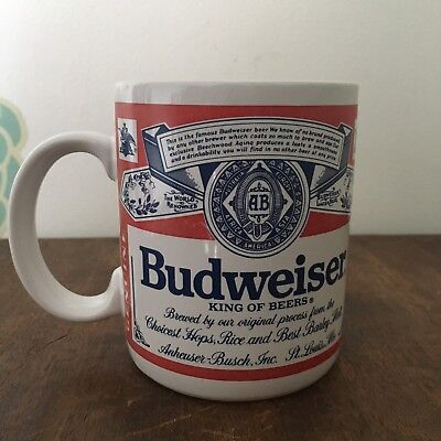 Budweiser Coffee Mug Vintage 1990 Anheuser-Busch Official Product Red Label Cup
