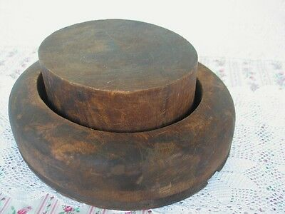 Antique Wooden Hat Form Mold Block Brim 2 Piece Millinery Signed Hoffman Studio