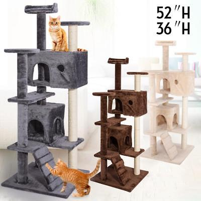 """36"""" 52"""" Cat Tree Tower Condo Play House Pet Scratch Post Kitten Furniture"""