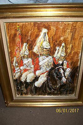 OIL PAINTING THE ROYAL LIFE GUARDS BUCKINGHAM PALACE 1980's