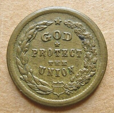1863 Patriotic Civil War Token - 5/228b EF+ *** God Protect The Union (Brass)***