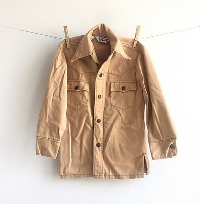 Vintage 70's Levi's Snap Up Western Shirt Boys Size 10 Tan Hipster Kids Clothes