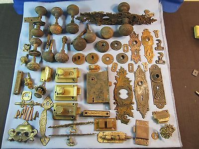 Antique Vtg Lot of Door Hardware, Knobs, Backplates, Latches - Cast Iron, Brass