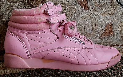 Ladies Vintage Reebok Freestyle Hi-Tops Hot Pink US 7