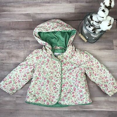 Baby Girl's Genuine Kids From Oshkosh Floral Button Up Jacket Coat 12 Months