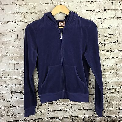 Women's Juicy Couture Indigo Full Zip Up Hooded Terry Cloth Jacket Size L