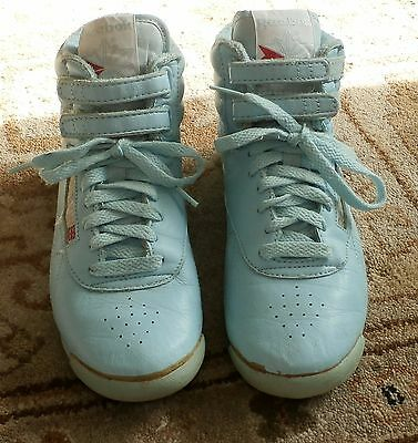 Ladies Vintage Reebok Freestyle Hi-Tops Sky Blueish/green US 6.5
