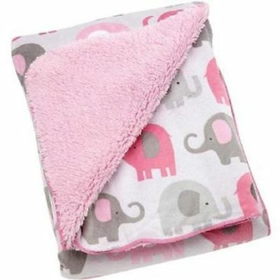 Soft Little Bedding Elephant Time pink Velboa Blanket Plush Fleece Safari baby