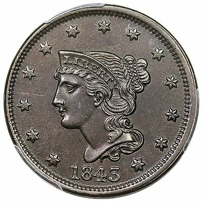 1843 Braided Hair Large Cent, Petite Head, Large Letters, N-4, PCGS MS62BN