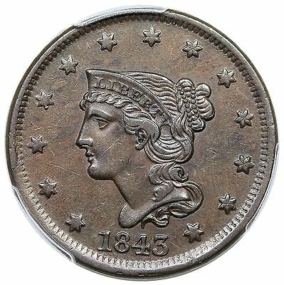 1843 Braided Hair Large Cent, Petite Head, Large Letters, N-4, PCGS AU50