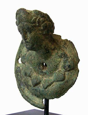 Ancient Roman Bronze Bust of a Satyr .