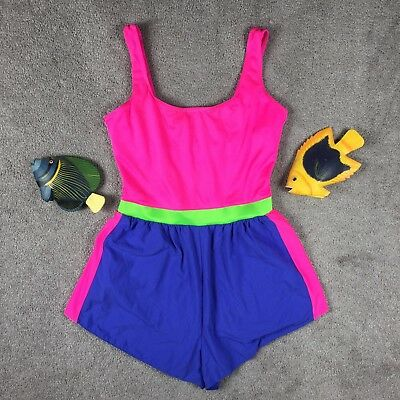 Vintage 80's Neon Swimsuit Romper Windbreaker Shorts Playsuit. USA Made! 12