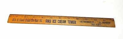 "Vintage 12 "" Ruler Wood Advertising DIAS ICE CREAM TOWER So. Dartmouth Ma 1940's"