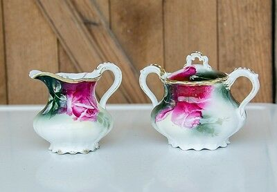 Antique Sugar Bowl with Lid and Creamer - Marked Weimar - Germany