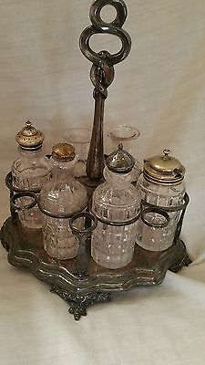 Antique Cruet Table Set 7 Piece Glass & Silverplate Holder No Stoppers on 2