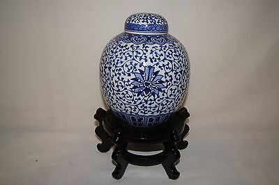 Nice Blue And White Chinese Ginger Jar With Double Blue Ring