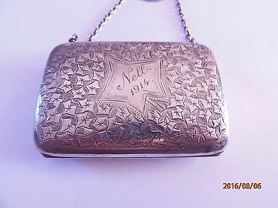 Engraved Silver Purse with Leather Interior on Finger Chain - Chester 1913