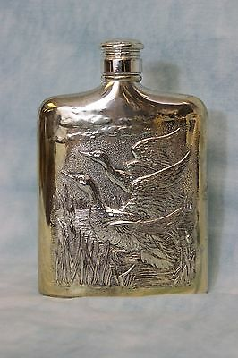 Vintage Silver-plate Liquor Flask Heavily Embossed Flying Geese Godinger Silver