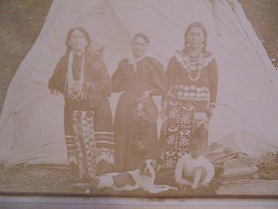 Vintage Cabinet Photograph Of Native American Indians And Tepee South Dakota
