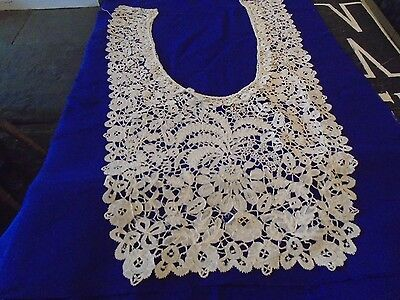 Antique Honiton lace dress front - very nice design