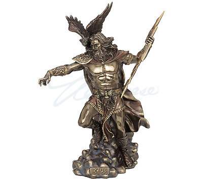 Large Zeus Holding Thunderbolt With Eagle Greek Mythology Statue Gift Boxed
