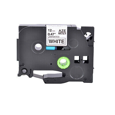 "Black on White Laminated Label Tape TZ231 TZe231 12mm 1/2"" for Brother P-Touch"