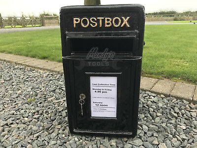 POSTBOX Mail Letter Post Box Cast Iron Medium Plain BLACK with Gold Heading