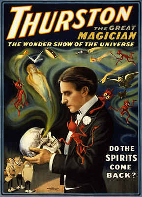 VINTAGE THURSTON THE GREAT MAGICIAN SPIRITS COME BACK MAGIC POSTER PRINT 36x26